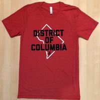 Men's District of Columbia T-shirt - Red (Navy & White Imprint)