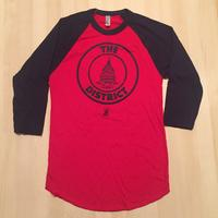 Unisex 3/4 Sleeve District Seal - Red/Navy (Navy Imprint)