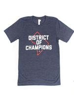 Unisex - DISTRICT of CHAMPIONS T-shirt - Heather Navy (Red & White Imprint)