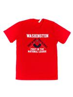 "<font color=""red""><B>***SALE***</B></font>Unisex WASHINGTON First! T-shirt - Red (White & Navy Imprint)"