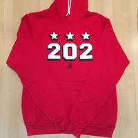 Unisex Hoodie 202 Stars Block Shadow -  Red (White & Navy imprint)