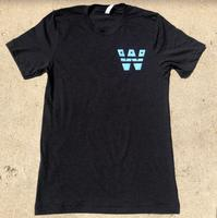 "<font color=""red""><B>***NEW***</B></font>Unisex ""W Stars"" T-shirt - Heather Black (Light Blue Imprint)"