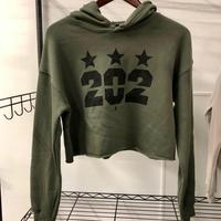 "<font color=""red""><B>***NEW***</B></font>Ladies 202 Stars Sponge Fleece Cropped Fleece Hoodie - Military Green"