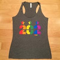 Ladies 202 Stars Pride Rainbow Tank - Grey Triblend