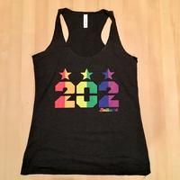 Ladies 202 Stars Pride Rainbow Tank - Charcoal Black Triblend