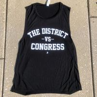 "<font color=""red""><B>***NEW***</B></font>Ladies The District vs. Congress Flowy Scoop Muscle Tank - Black (White Imprint)"