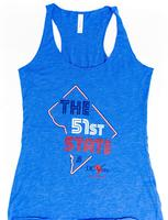 Ladies <B><U>The</U></B> 51st State Tank Top- Royal (Red, White & Blue Imprint)